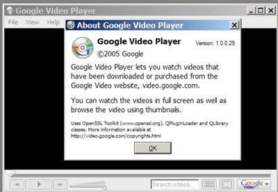 Captura de pantalla de Google Video Player 1.0.0.29