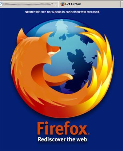 Captura de un sitio web. El único contendio es el logo de Firefox y un enlace a la web de este navegador