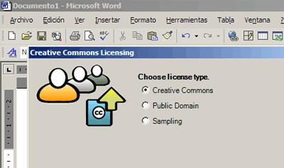 Captura del asistente Creative Commons para Microsoft Office