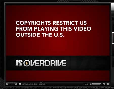 Error en una página de MTV: el copyright les impide distribuir un videoclip fuera de Estados Unidos