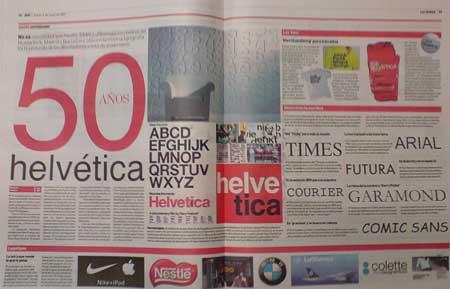 Dos páginas del diario ADN dedicadas al 50 aniversario de la tipografia Helvetica
