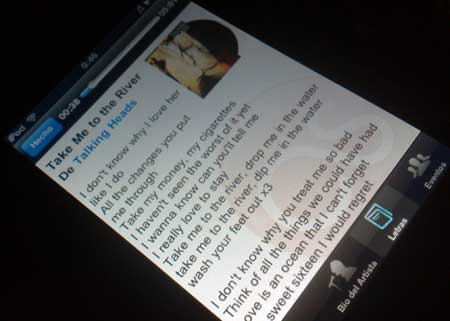 Captura de pantalla de la interfaz de MobileScrobbler