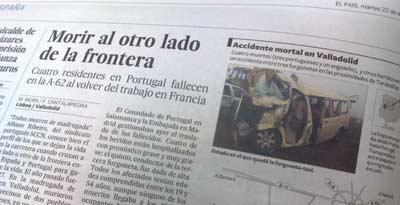 El titular ?Morir en la carretera?, en la edición de papel