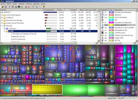 Captura de pantalla del programa WinDirStat