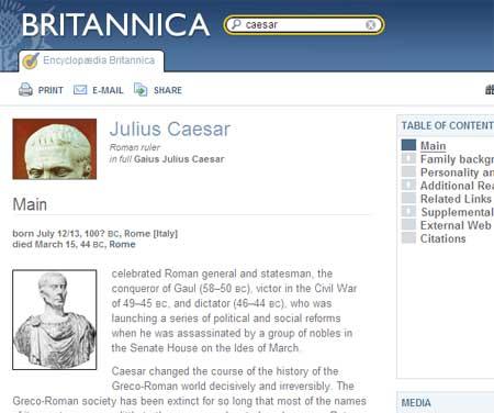 Captura de la entrada sobre Julio César en la Encyclopedia Britannica