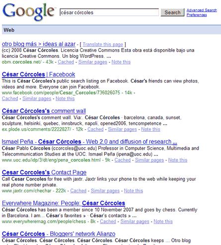 """Los primeros resultados de la búsqueda \""""césar córcoles\"""" en google.com"""