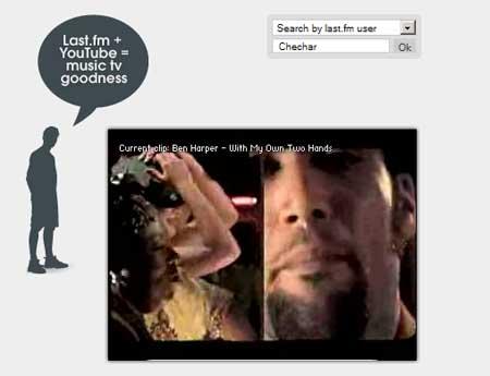 Captura de pantalla de un mashup de last.fm con YouTube