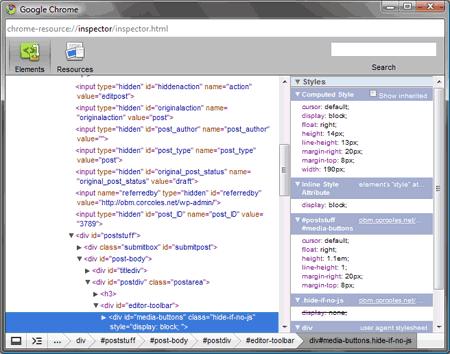 El inspector de elementos de Google Chrome