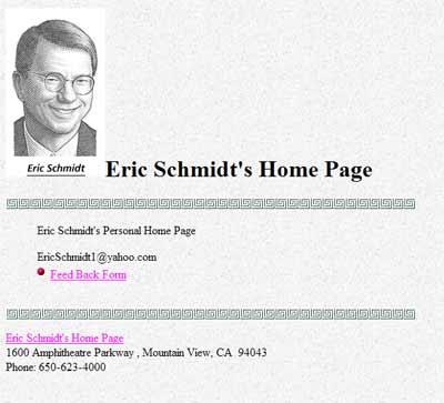 Captura de ericschmidt.com. Digna de la web de 1995...
