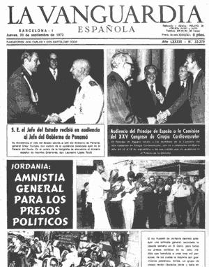 Portada de La Vanguardia del día 20 de septiembre de 1973. Las noticias destacadas son una audiencia de Franco con el Jefe de Gobierno de Panamá, el entonces príncipe Juan Carlos en un congreso de cirugía y una amnistía general a los presos politicos en Jordania