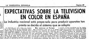 La industria española se preocupaba por el estándar elegido para la tele en color