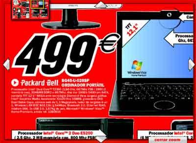Captura del catálogo de Mediamarkt, con el ordenador del título por 500 euros y las especificaciones, explicadas en el texto que viene a continuación