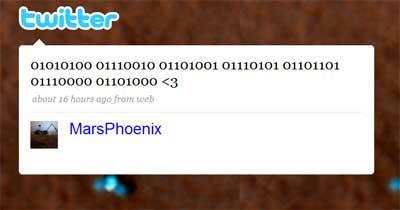 El mensaje final de @MarsPhoenix, en binario: 01010100 01110010 01101001 01110101 01101101 01110000 01101000