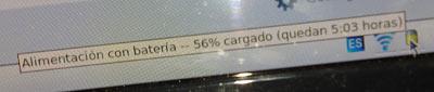 Captura de pantalla. Información de batería: 56% cargado (quedan 5:03 horas)