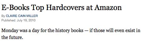 El titular del New York Times dice que las ventas de libros electrónicos han superado a las de libros de tapa dura
