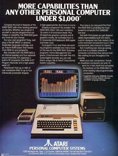 Anuncio del Atari 800