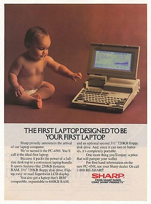 Anuncio de un portátil Sharp PC-4501. El lema reza que es el primer portátil pensado para ser tu primer portátil