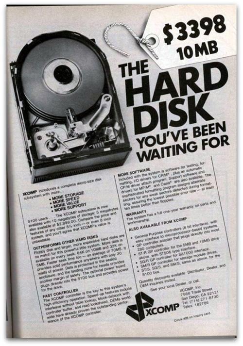 Anuncio de un disco duro de 10 megas por 3,398 dólares