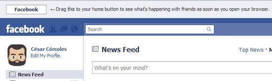 """En la cabecera de Facebook se dan las instrucciones """"para tontos"""" sobre cómo hacer que Facebook sea la página de inicio del navegador"""