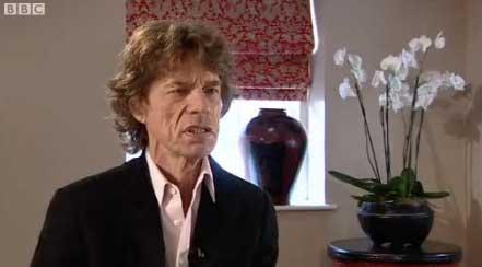 Captura de vídeo de una entrevista de la BBC a Mick Jagger