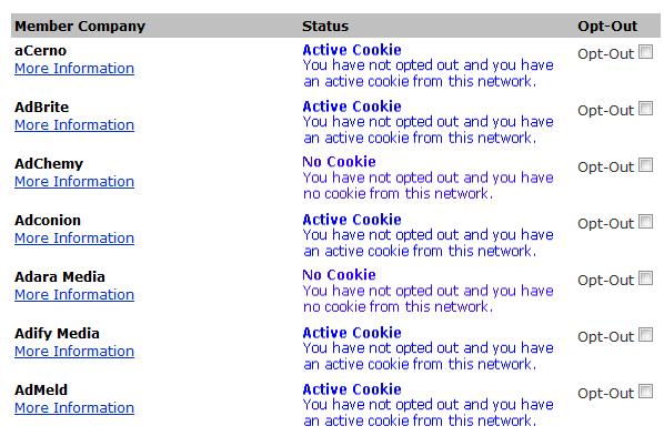 Captura de pantalla que muestra una serie de empresas de publicidad, si tienen una cookie o no en mi ordenador, y si quiero hacer 'opt out' de cada una de ellas