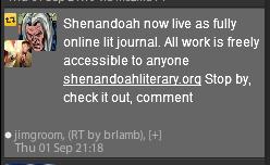 Tuit de @jimgroom, retuiteado por @brianlamb. el tuit contiene un enlace a shenandoahliterary.org