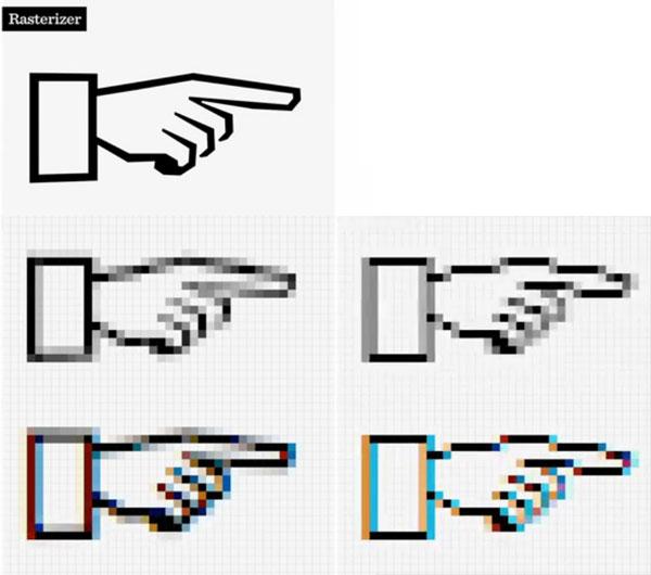 Un cierto elemento tipográfico y su rasterización, usando la misma tecnología, a través de cuatro sistemas operativos de dos fabricantes diferentes