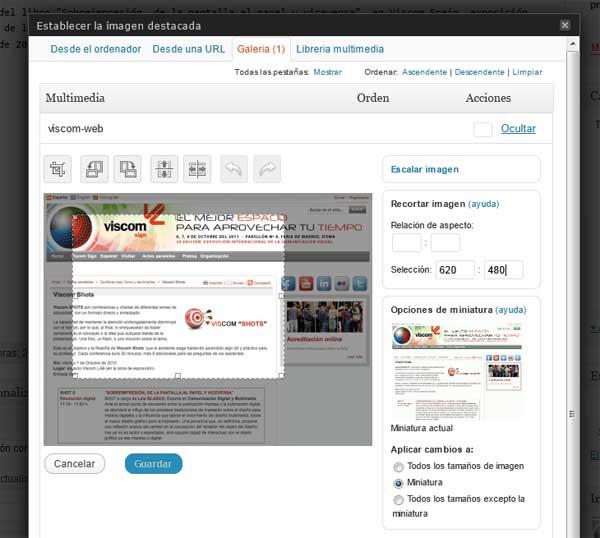 Captura de pantalla de la herramienta de edición de imágenes de WordPress