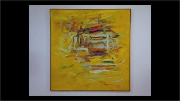 Cuadro abstracto. Líneas irregulares de color sobre un fondo de color curri