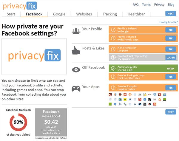 Captura de pantalla de la información de privacidad de Facebook que obtiene Privacyfix. Afirma que Facebook recibe información del 90% de páginas que visito y que mi valor estimado para Facebook es de 42 céntimos de dólar