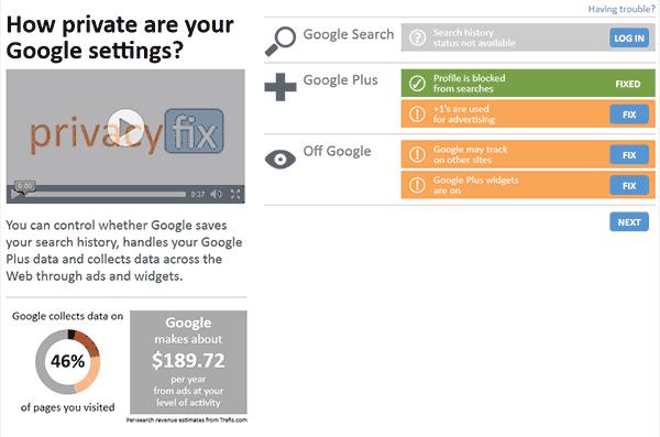 Captura de pantalla de la información sobre Google que obtenemos de Privacyfix. Según Privacyfix Google obtiene información del 46% de páginas que visito, y valgo para ellos casi 190 dólares anuales