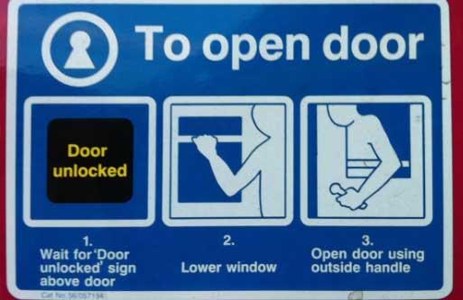 Foto de las instrucciones (en inglés) para abrir la puerta de un tren. Hay que, primero, esperar a que se active una señal de puerta desbloqueada, después bajar la ventana y, finalmente, sacar el brazo y abrir la puerta desde fuera