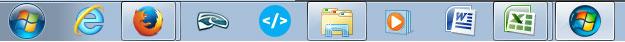 Captura de pantalla de la barra de tareas de Windows 7 en su configuración habitual