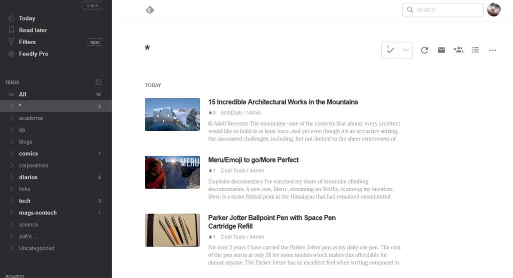 Captura de pantalla de Feedly. Feedly tiene modos en los que presenta las primeras líneas de texto de cada entrada sin necesidad de hacer clic