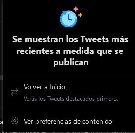 """Se muestran los tweets más recientes a medida que se publican. Botón: """"volver a inicio"""". Botón: Ver preferencias de contenido."""